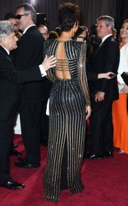 Halle's Oscar dress from behind.