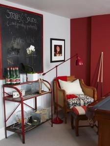 basement red and gray billiards room