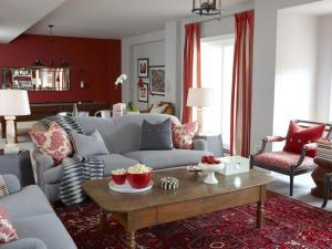 basement with gray + red seating area