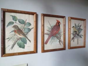 Vintage bird prints in faux bamboo frames, from -- where else? -- the Morris Antiques Emporium.