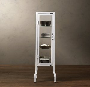 White pharmacy bath cabinet.