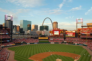 The 'new' Busch Stadium, finished in 2006, has a cool view of the St. Louis arch.