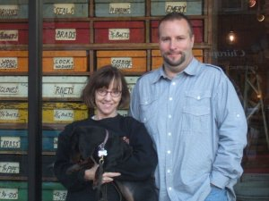 Kay, Chloe + Alan, in front of his late, great Chicago store, Patina.