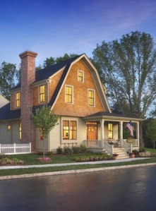 Must haves: 2nd story switch of siding color + charming porch like this.