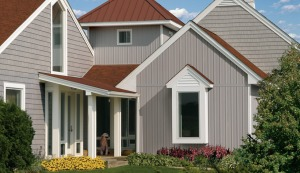 Vertical board + batten siding from Certainteed.