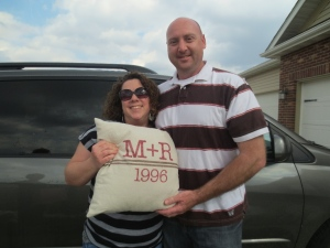 Speaking of pillows, I gave my niece + her husband their own custom pillow on Easter.