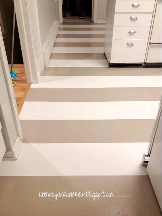 Linoleum Tan White Stripes