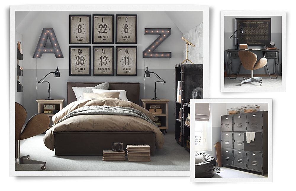 Industrial style redbird for Bedroom ideas industrial