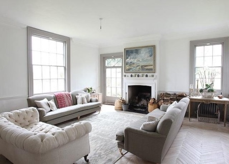 gray woodwork -- living room