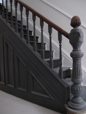 gray woodwork -- staircase