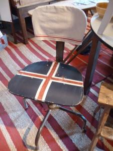 Another rolling stool, this time with a red + white cross + a Frenchie dish towel slipcover!