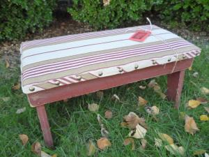 Woven Frenchie stripes this time,  with yet more upholstery tacks.