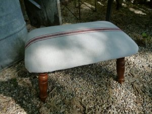 What a cute footstool, with more of my stenciled fabric!