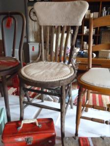 Tan ticking stripe cotton chair pad + trimming the canvas slipcover.