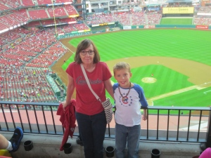 Look!   My grandlad + me at Busch Stadium, St. Louis