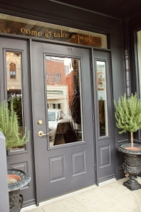 Traci's shop recently moved. OMG, those rosemary topiaries!