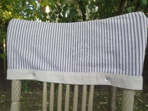 cabin christmas -- kay's ticking stripe slipcover close up