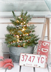 cabin christmas -- tree in bucket