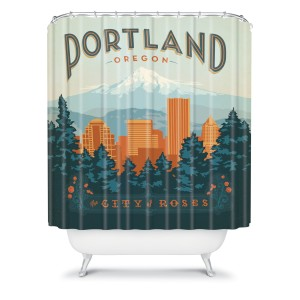 curtain of shower -- Portland