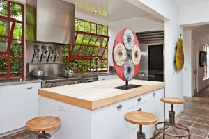 karin blake's malibu kitchen with red sashes #1