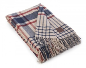 lexington co. wool throw - white with blue + red