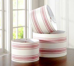 pottery barn red striped lampshades