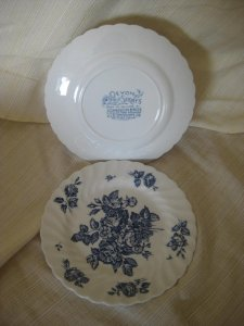 blue and white floral plate