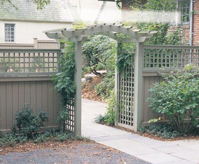 walpole woodworkers arbor with privacy fence