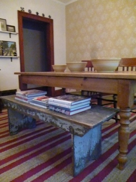 dining room of kay's with bench
