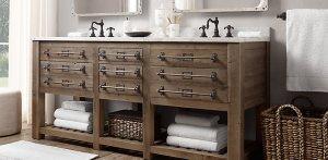 vanity -- RH mercantile with knobs + label slots