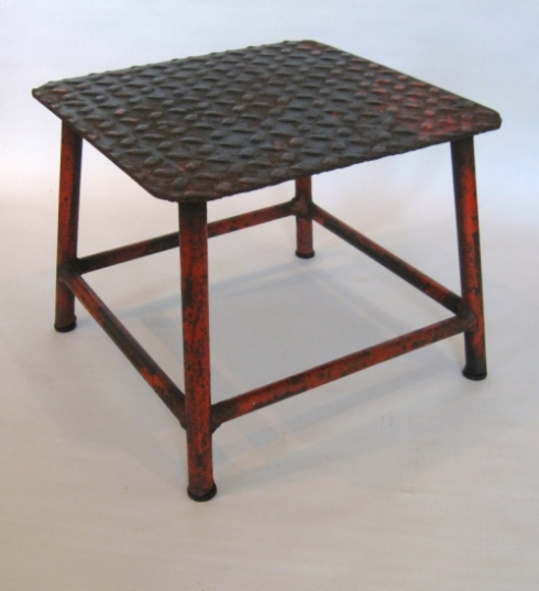 Train porter's steel stool with my favorite of all the old paint -- red!