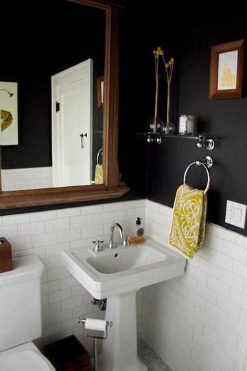 gray dark bathroom white tiles apartmenttherapy
