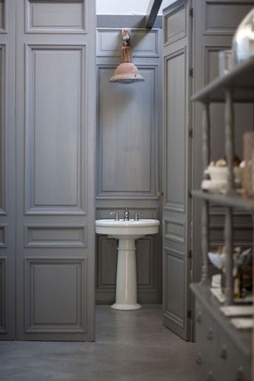 gray panelled bathroom walls -- apartment therapy