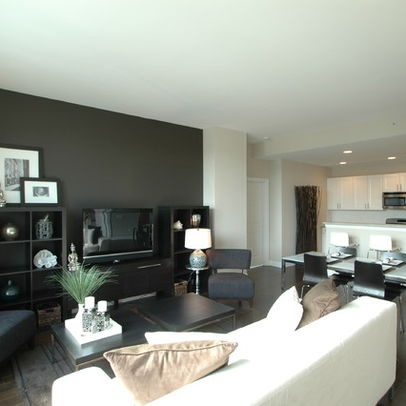 gray dark accent wall -- houzz.
