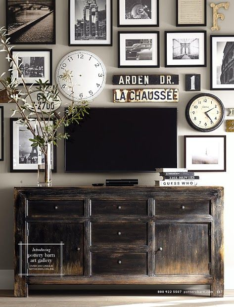 gray dark tv and artwork pottery barn