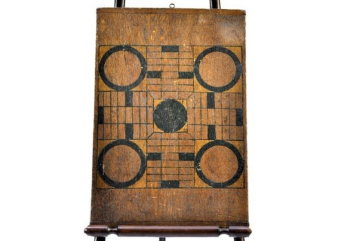 lonny -- painted parchessi and checkers game board hammer and spear $499