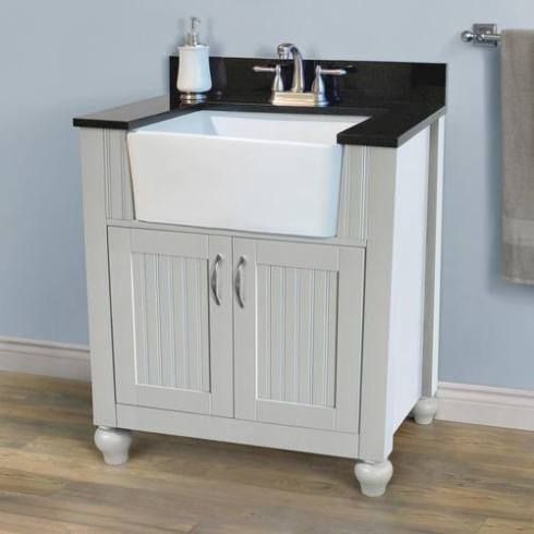 vanity -- menards with farmhouse sink