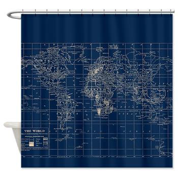 shower curtain -- blueprint blue