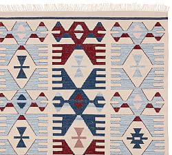 kitchen rug -- southwestern style red blue pb
