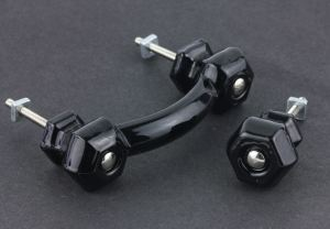 cabinet hardware -- black glass pull and knob