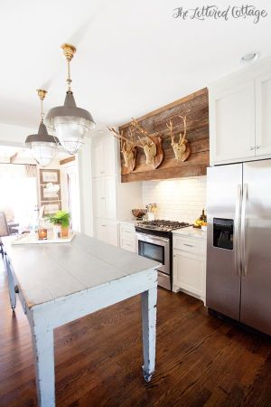 range hood lettered cottage with deer heads