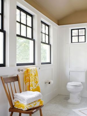 window sashes black inside bathroom bh+g
