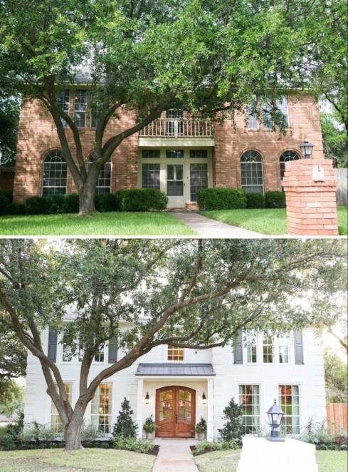 fixer upper white brick house before