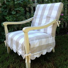 scallop hem check slipcover