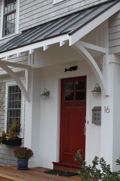 awning cool house with gray and white close up