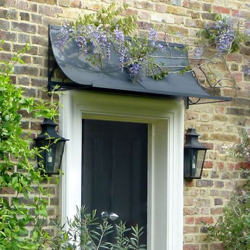 awning curved with circle and wisteria