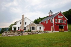 TOH vintage white house and red barn