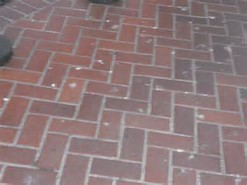 brick sidewalk red herringbone