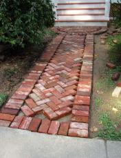 brick sidewalk red in progress