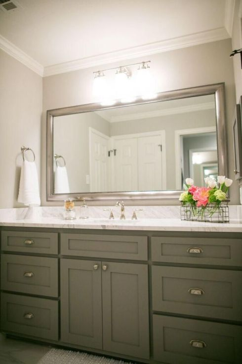 bathroom of fixer upper gray